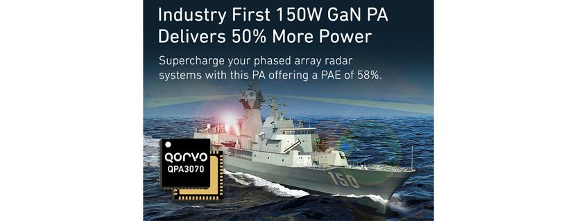 Qorvo® Advances Defense Phased Array Radar Performance and Capabilities with 150W GaN Power Amplifier